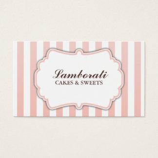 Elegante moderne niedliche rosa und weiße Streifen Visitenkarten