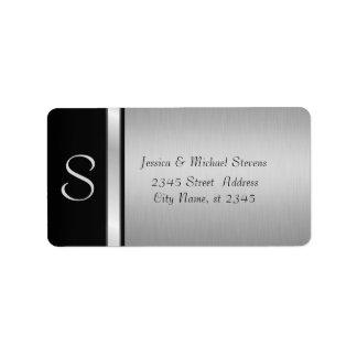 Elegante moderne silberne schwarze adressetiketten