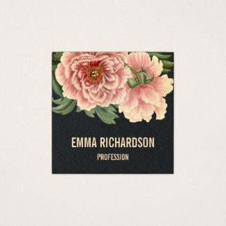 Elegante modische rosa Pfingstrosen-mit Quadratische Visitenkarte
