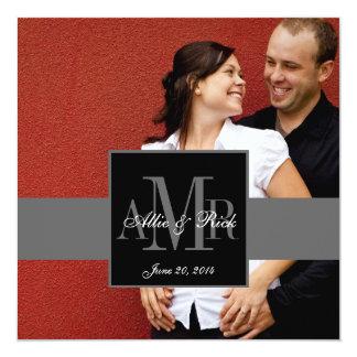 Elegante Monogramm-Paar-Foto-Hochzeits-Einladung Quadratische 13,3 Cm Einladungskarte