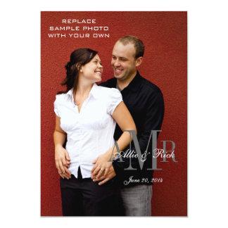 Elegante Monogramm-und Foto-Hochzeits-Einladungen 12,7 X 17,8 Cm Einladungskarte