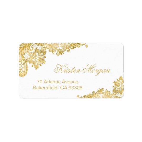 Elegante noble Blumengoldspitze Adressetikett