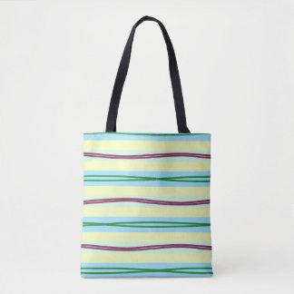 Elegante Pastellstreifen mit gewellten Höhepunkten Tasche