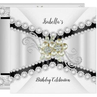 Elegante Perlen-Schwarz-weißes Karte