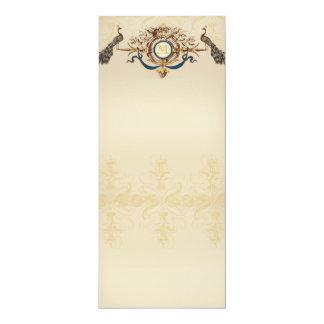 Elegante Pfau-Hochzeits Menü-Karten Karte