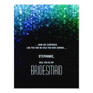 Elegante Pfaufarbebokeh Hochzeitsbrautjungfer 10,8 X 14 Cm Einladungskarte