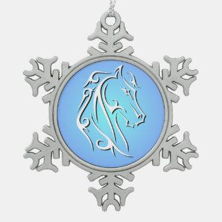 Elegante Pferdekopf-Verzierung Schneeflocken Zinn-Ornament