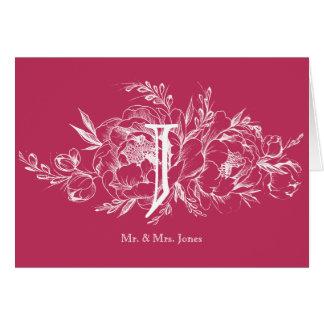 Elegante Pfingstrose in der weißen Hochzeit danken Mitteilungskarte