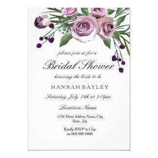 Elegante Pflaumen-lila Rosen-Brautparty-Einladung Karte