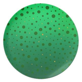 Elegante Punkte - grünes Gold - St Patrick Tag Essteller