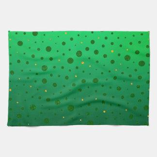 Elegante Punkte - grünes Gold - St Patrick Tag Geschirrtuch