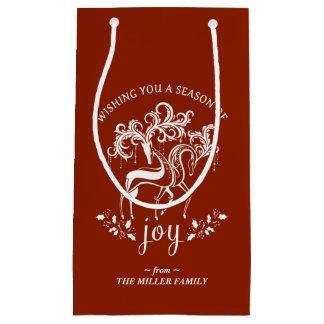 Elegante Ren-Freude-rote und weiße Geschenk-Tasche Kleine Geschenktüte
