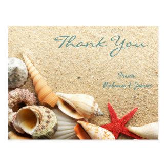 elegante romantische Seashellsstrandhochzeit Postkarte