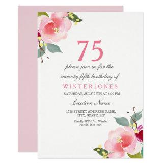 Elegante rosa Blumen75. Geburtstags-Party 11,4 X 15,9 Cm Einladungskarte