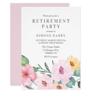 Elegante rosa Blumenruhestands-Party Einladung