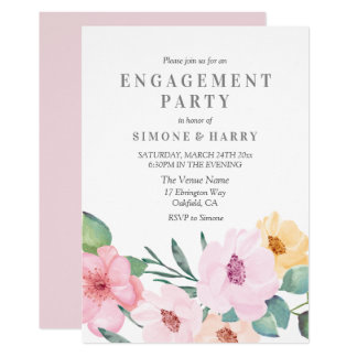 Elegante rosa BlumenVerlobungs-Party Einladung