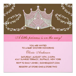 Elegante rosa Brown-Baby-Prinzessin Babyparty Quadratische 13,3 Cm Einladungskarte