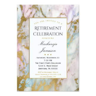 Elegante rosa Goldmarmor-Ruhestands-Einladung 12,7 X 17,8 Cm Einladungskarte
