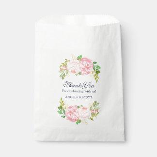 Elegante rosa Pfingstrosen-Gastgeschenk Geschenktütchen