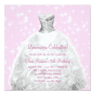 Elegante rosa Prinzessin Quinceanera Quadratische 13,3 Cm Einladungskarte
