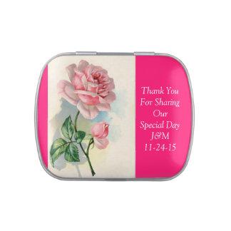 Elegante rosa Rosen-Gastgeschenk Hochzeit danken Süßigkeitenbox