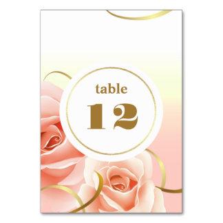 Elegante rosa Rosen-Tischnummer-Karten Karte