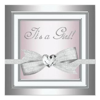 Elegante rosa und graue Baby-Dusche Quadratische 13,3 Cm Einladungskarte