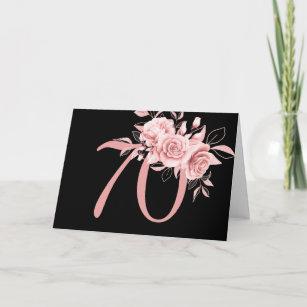 Elegante Rose Gold Floral 70. Geburtstagsparty Karte