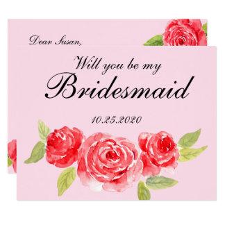 Elegante Rosen-Brautjungfern-Einladung 10,8 X 14 Cm Einladungskarte