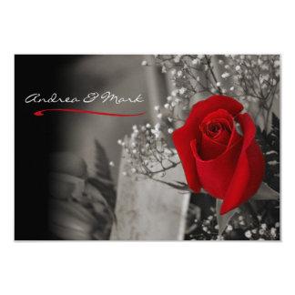 Elegante Rosen-Schwarzweiss-Hochzeit 8,9 X 12,7 Cm Einladungskarte