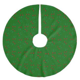 Elegante rote Beeren u. grüner Polyester Weihnachtsbaumdecke