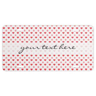 elegante rote Herzen und rosa Tupfenmuster US Nummernschild
