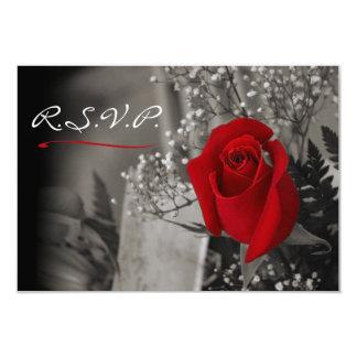 Elegante Rote Rose blenden Schwarzweiss-UAWG aus 8,9 X 12,7 Cm Einladungskarte