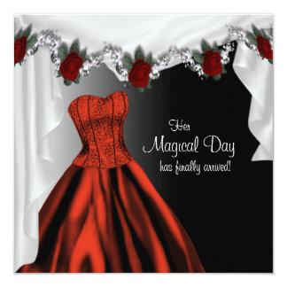 Elegante Rote Rose Quinceanera Einladungen
