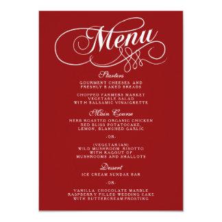 Elegante rote und weiße Hochzeits-Menü-Vorlagen 11,4 X 15,9 Cm Einladungskarte