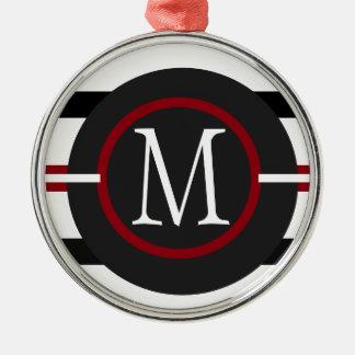 Elegante rote, weiße u. schwarze Linien mit Silbernes Ornament