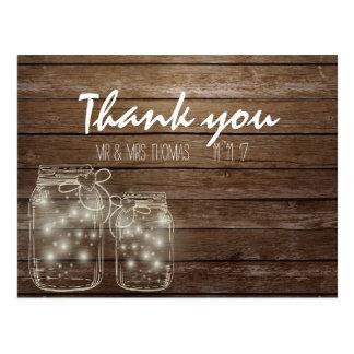 Elegante rustikale Weckglas-Lichter danken Ihnen Postkarte