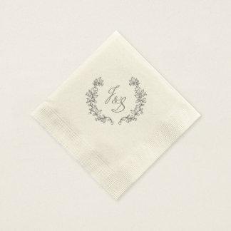 Elegante Scheunenhochzeit J und S Papierservietten