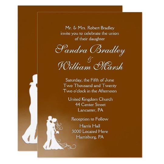 Elegante Schokoladen-Hochzeits-Einladung 11,4 X 15,9 Cm Einladungskarte