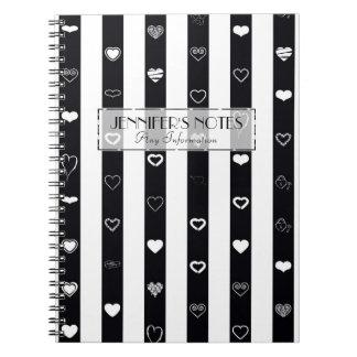 Elegante Schwarz-weiße Streifen-modernes Spiral Notizblock