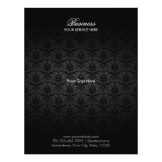 Elegante schwarze Damast-Haar-u. 21,6 X 27,9 Cm Flyer