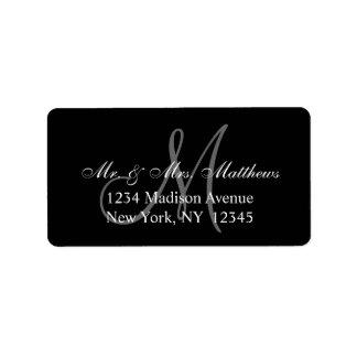 Elegante schwarze graue Monogramm-Hochzeit Adressaufkleber