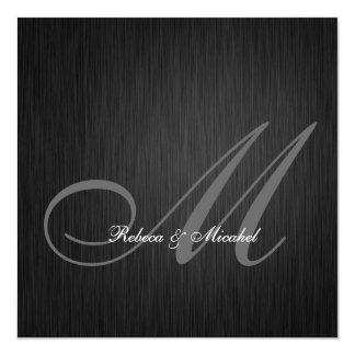 Elegante schwarze Monogramm-Hochzeits-Einladung Quadratische 13,3 Cm Einladungskarte