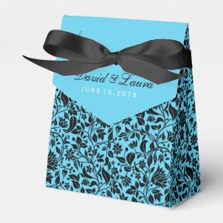Elegante schwarze und aquamarine blaue Hochzeit Geschenkschachtel