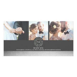 Elegante silberne BlumenFoto-Hochzeit danken Ihnen Karte