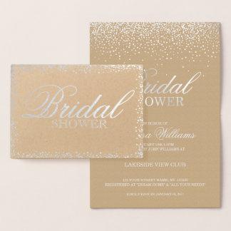 Elegante silberne Brautpartyeinladung Folienkarte