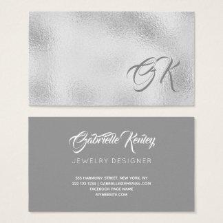 Elegante silberne metallische mit Monogramm Visitenkarte