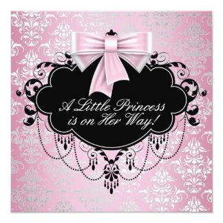 Elegante silberne rosa schwarze Prinzessin Quadratische 13,3 Cm Einladungskarte