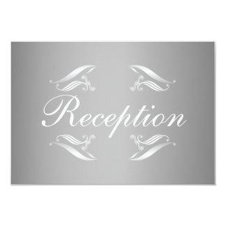 Elegante silberne weiße Hochzeits-Empfangs-Karte 8,9 X 12,7 Cm Einladungskarte