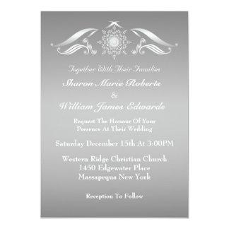 Elegante silberne weiße Winter-Hochzeits-Einladung 12,7 X 17,8 Cm Einladungskarte